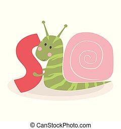 cute animal alphabet with snail