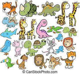 Cute Animal Vector Design Elements