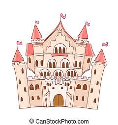 cute cartoon fairytale castle. vector drawing