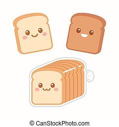 Cute cartoon slices of bread