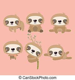 Cute cartoon smiling lazy sloth animal characters.