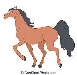 cute cartoon young horse. vector illustration