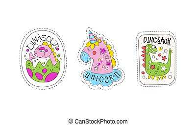 Cute Dinosaur and Unicorn Patches and Stickers Vector Set