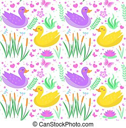 Cute duck seamless pattern with reeds, water lily, flowers, plants. Kids baby smiling animal endless texture. Vector illustration