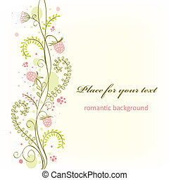Cute floral card with ripe raspberry