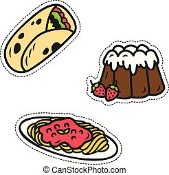 Cute food patches set