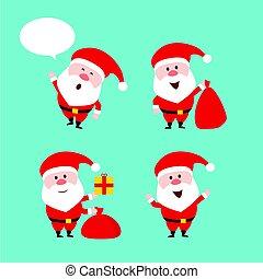 Cute funny Santa Claus. Vector set. Merry Christmas. Flat style design.