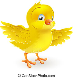 Illustration of a cute happy little yellow Easter chick with its wings outstretched