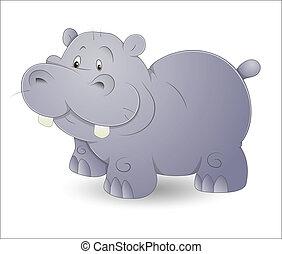 Design Art of Cute Cartoon Hippo Vector Illustration