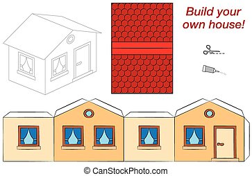 Template of a cute and neat little house, that can easily be build by yourself with scissors and glue. Isolated vector illustration on white background.