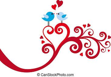 love birds with heart swirl, vector