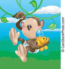 cute monkey illustration