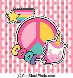 cute patches badge unicorn cool peace fashion