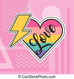 cute patches love heart thunderbolt badge fashion