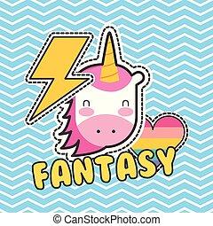 cute patches unicorn heart love fantasy badge fashion