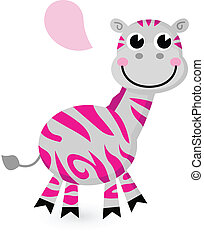 Cute pink zebra isolated on white