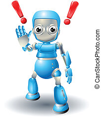 A cute blue robot character cautioning viewer with stop palm out hand gesture.