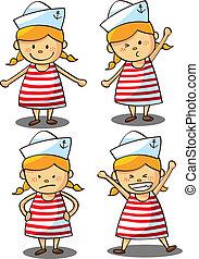 cute little girl wearing sailor uniform