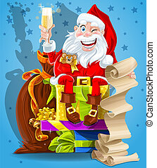 Cute Santa Claus with gifts
