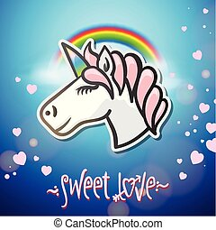 Cute unicorn animal, stickers and hand drawn letters