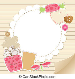 cute vintage greeting card with scrapbook elements