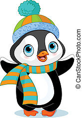 Cute winter penguin with hat and scarf