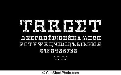 Cyrillic serif font in sci-fi style