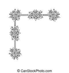 Daisy flowers corner pattern