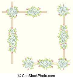 Daisy flowers pastel corner frames