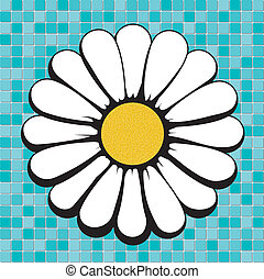 daisy on blue mosaic, vector illustrations, image format - square