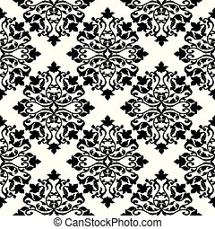 Damask black and white seamless pattern.
