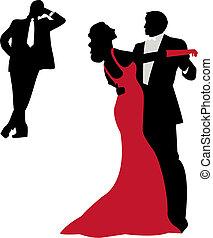 elegant couple dancing, vector background