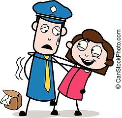 Dancing with a Girl - Retro Postman Cartoon Courier Guy Vector Illustration