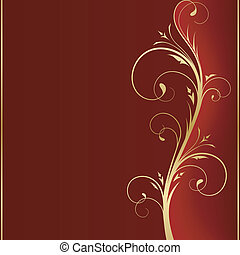 Dark red square background with golden scrolls on the right hand side with space for your message.