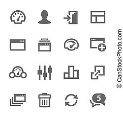Simple icon set related to Dashboard. A set of sixteen symbols.
