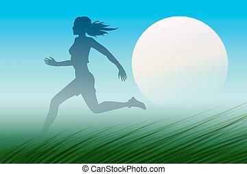 Healthy Run Design template. Young woman running through a meadow early in the morning.
