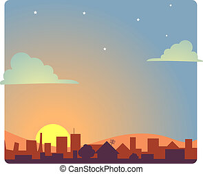 View of a city scape at dawn.
