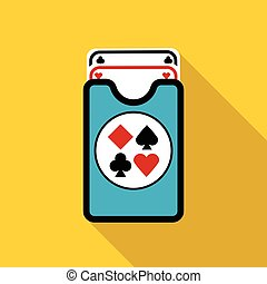 Deck of playing cards icon, flat style