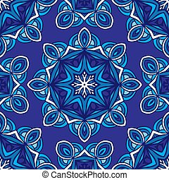 Decor tile texture print mosaic oriental pattern with blue ornament arabesque. Geometric blue and white ceramic design