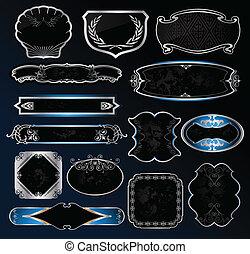 Decorative black silver frames labels . Vector