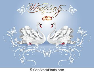 Decorative card with two swans and luxurious ornament and golden rings for invitations or congratulations with wedding or engagement with caligraphic inscription