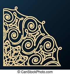 Decorative corner ornament. Design element. Vector illustration.