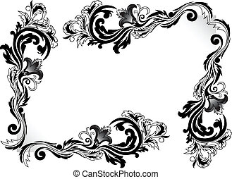 a set of black corner ornaments on a white background