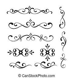 Set of decorative elements and ornaments