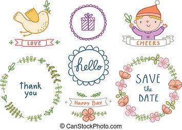Decorative graphic set