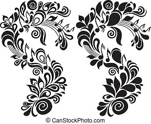 Two b/w decorative vector musical floral illustrations
