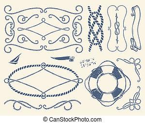 Decorative rope frames set over whi