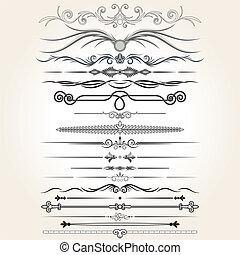 Decorative Rule Lines. Vector Design Elements, Ornaments.