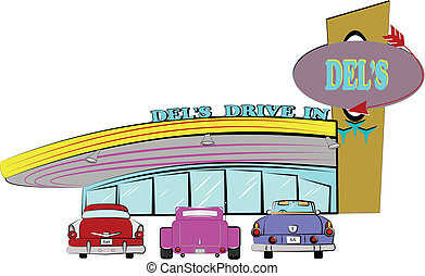 fifties drive inn with classic autos parked in front