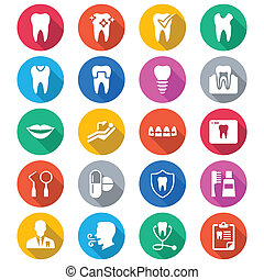 Dental flat color icons. Simple vector icons. Clear and sharp. Easy to resize.